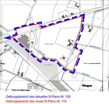 identische Geltungsbereiche der B-Pläne 109 und 116