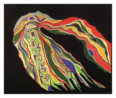 Floating scarf, Acrylique sur toile, 51 X 61cm