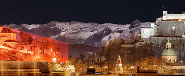 Panoramic view of Salzburg at full moon, with the snow-covered mountains in the background, STROB Galerie Salzburg