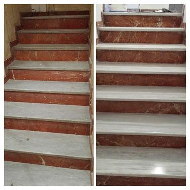 Resturación de escalera de terrazo
