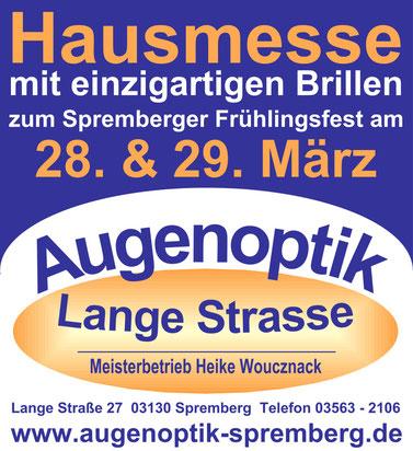 Exklusive Hausmesse mit dem Brillenghersteller von Bogen zum Spremberger Frühlingsfest