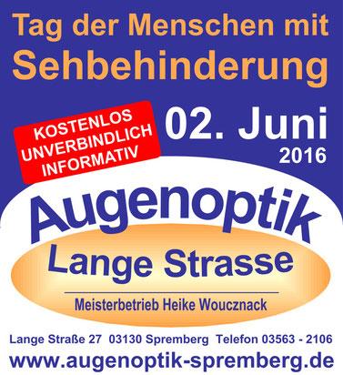 """Heike Woucznack und Brian Fröhlich - Donnerstag, 02. Juni 2016 - Spremberger """"Tag der Menschen mit Sehbehinderung"""" - vergrößernde Sehhilfen - Low Vision"""