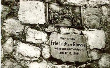 Gedenkstafel am Denkmal auf dem Mühlberg bei Kunersdorf (zerstört)