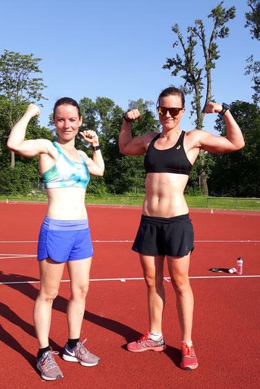 Nach Tanja Bauers (links) Landesmeistertitel im Berglauf holte heute Tanja Stroschneider mit PB den 5000m Landesmeistertitel für das team2012.at