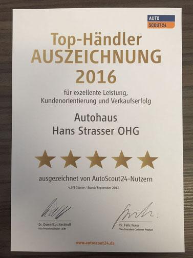 Autoscout24 Top-Händler Auszeichung 2016 für exzellente Leistung und Kundenzufriedenheit