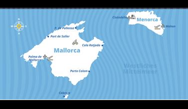Mallorca - Menorca - Cabrera Törnbericht Übersichtskarte