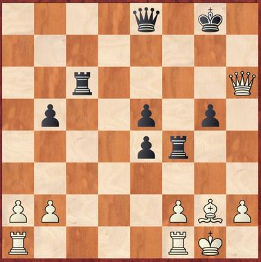 Margenberg - Wagner: Weiß findet hier mit 28.Dh3! die einzige Möglichkeit weiter auf Gewinn zu spielen, gerät aber in der Folge trotzdem unter Druck und muss ein Remis durch Dauerschach zulassen.
