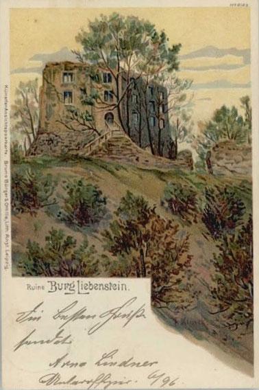 Künstlerkarte gelaufen 1900