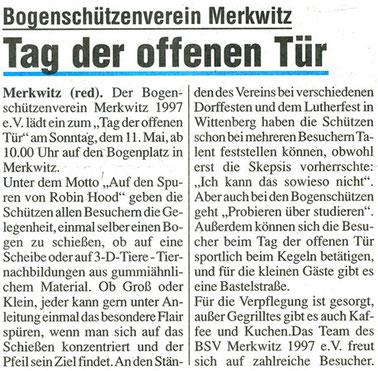Artikel - Tag der offenen Tür 2008- BSV Merkwitz