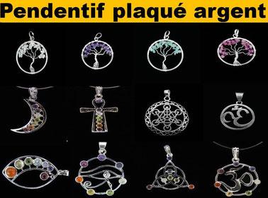 Pendentif plaqué argent 2 - Boutique de minéraux - Casa bien-être.fr