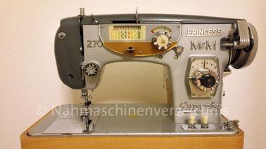 Princess 270 Superba, Haushalts-Flachbettnähmaschine mit Zierstichautomatik, Hergestellt in Japan, Importeur: Meess & Meess, Düsseldorf (Bilder: L. Schuh)
