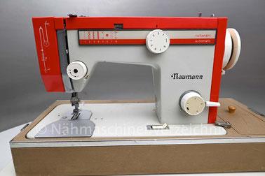Naumann 8014/29, Flachbett-Haushaltsnähmaschine mit 8 Nutzstichen,  Anbaumotor, Hersteller: Textima Kombinat VEB Nähmaschinenwerk Wittenberge (Bilder: Nähmaschinenverzeichnis)