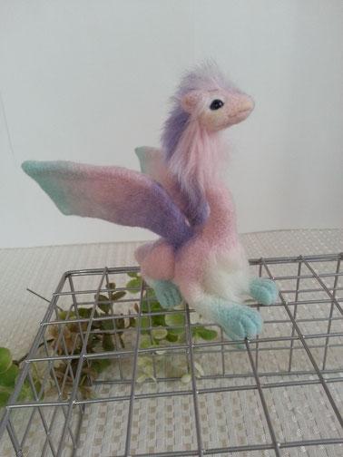 羊毛フェルト ドラゴン 紫陽花 フェアリードラゴン