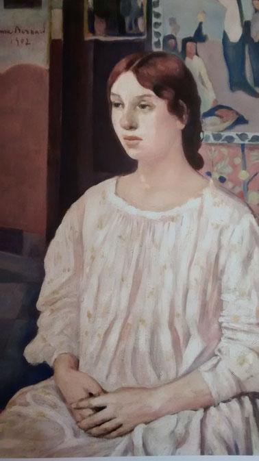 Émile Bernard. Retrato de Andrée Fort, 1902. Óleo sobre lienzo 86x51cm. Colección particular,París. Hija del escritor simbolista Paul Fort, con el que tiene gran amistad.