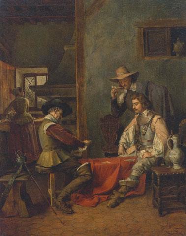 Ignacio León y Escosura.Partida de cartas,1875. Interior con figuras de mosqueteros,tuvo influencia de la pintura holandesa del S.XVII.Realismo y naturalidad,gran definición espacial, minucioso estudio lumínico.