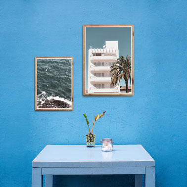 4one pictures - poster - natur - ocean bilder - sommer strand beach - urlaub fotos - farbenfroh - blau - din a4 - a3