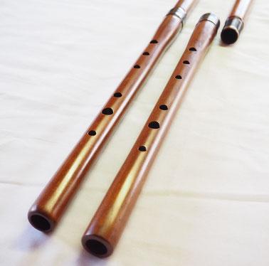 オリジナル横笛(木製)継ぎ管LowD管 指孔