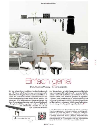 My Room Magazin, Medienbericht schlüsselbrett, Alu Designleiste, Design Award, genial einfach, multifunktional, Ordnungswunder, Designfilz, Garderobe, Küche, Bad