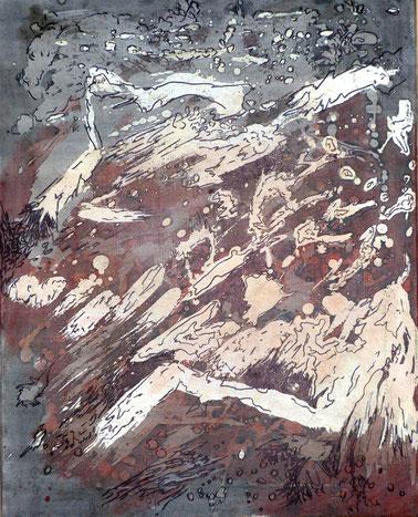 ohne Titel: 40 x 50 cm. Wachsreserviertechnik, Acrylmalerei, Stiftzeichnung. 2012