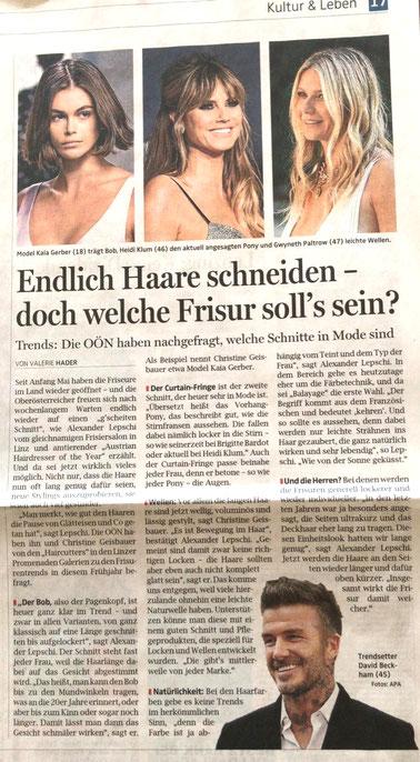 Bericht der OÖ-Nachrichten (Mai 2020) - Endlich Haare schneiden - in Zeiten Corona - Lepschi&Lepschi Hairdressing Linz