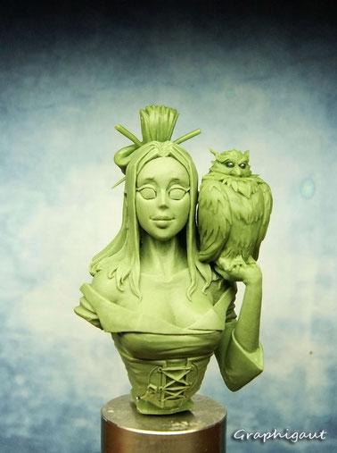 Graphigaut, Beesputty, handmade sculpture, 35mm, akina, buste, manga