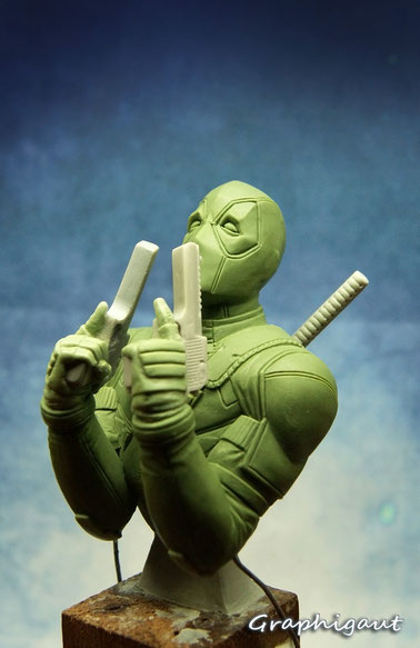 Deadpool, bust, 1/10, Graphigaut, sculpture, Ryan Reynolds