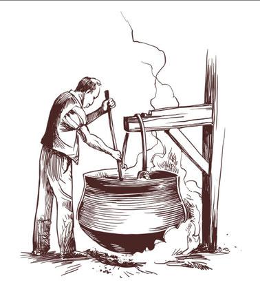 Un bravo operaio lavora l'impasto del formaggio, nello chalet la Petite-Dent Dessous