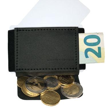 Mini Portemonnaie schwarz für Damen und Herren mit Karten, Scheinen und Münzen