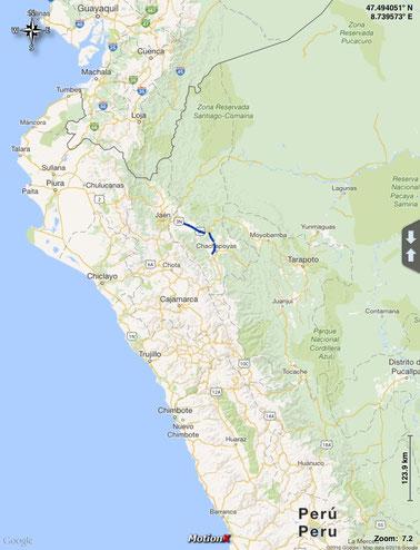 gefahrene Route am 6. März 2016 im Norden von Peru