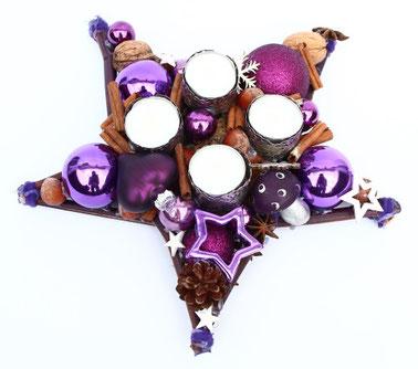 Kleiner Stern in violett-natur mit vier Teelichtern, die Alternative zum Adventskranz.