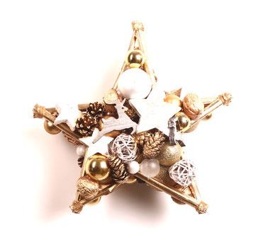 star, stern, beidseitig, handmade, türkranz, türdeko, Weihnachtsdeko, handgemacht, gold, weiß