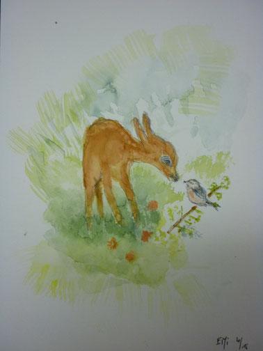 Rehlein mit Vogel / nach Vorlage - April 2015
