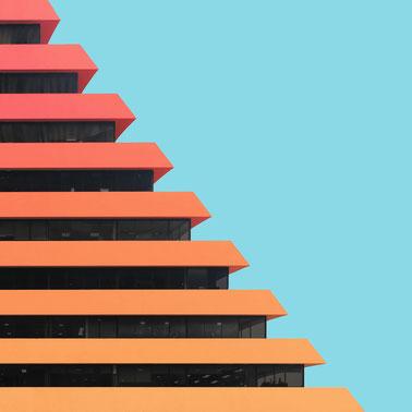 Edificio Aseguradora del Valle Centro internacional Bogota Colombia colorful architecture
