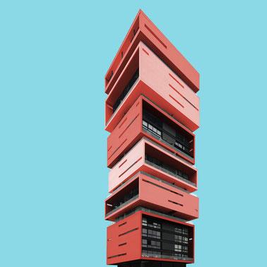Energy Living Medellín M+ Group El Poblado Skyscraper colorful facade modern architecture photography inspiration Colombia skyscraper red blue
