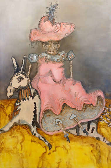 Frau auf Esel, 2012 180cm x 120cm, Oil on canvas