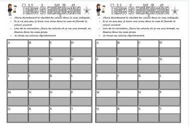 Mathématiques maths Tables de multiplication contrôle test cycle2 cycle3