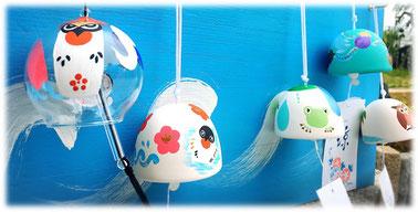 風鈴御守り(ガラス OR 陶磁、絵柄9種類あり、オリジナル絵柄対応可能)