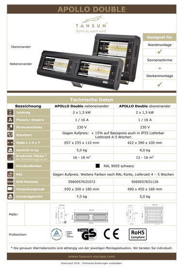 Datenblatt Tansun Wärmestrahler Apollo 2x 1,5 kW