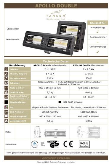 Datenblatt Tansun Wärmestrahler Apollo 2x 1,5 kW für Hallen