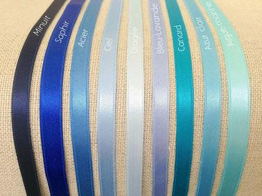 ruban satin nuances bleu vert marine