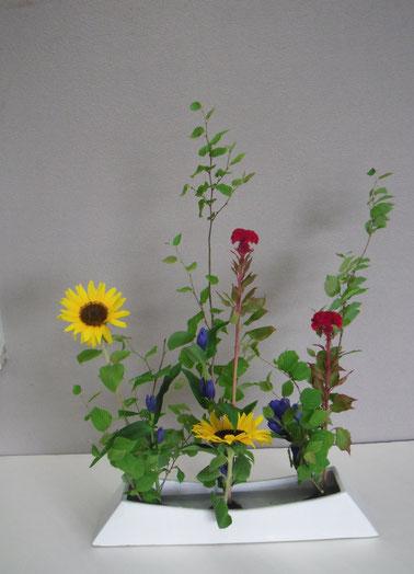 花意匠ならぶかたち: 姫水木 鶏頭 向日葵 竜胆
