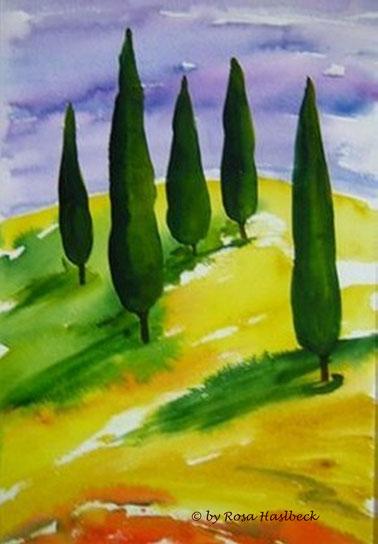 aquarell, landschaft, landschaftsaquarell, berg,  bäume, blau, grün,  braun, rot, toskana, toskanaaquarell, toskanalandschaft, bild, kunst, bilder, malerei, malen, deko, dekoration, wandbilder, wand, geschenkidee, geschenke,malen, malerei, handgemalt,