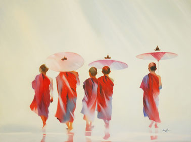 Young monks asia art painting