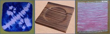 選考商品の一例  藍染ハンカチ・木製コースター・染め紙製品