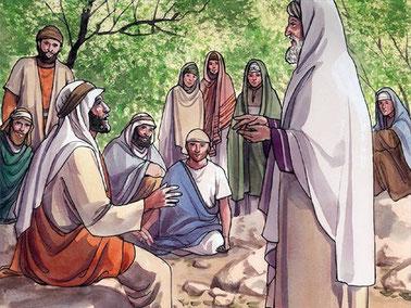 Jésus demande alors au spécialiste de la Loi : « Lequel de ces trois te semble avoir été le prochain de celui qui était tombé au milieu des brigands? » Il lui répond : «C'est celui qui a agi avec bonté envers lui», répondit le professeur de la loi.