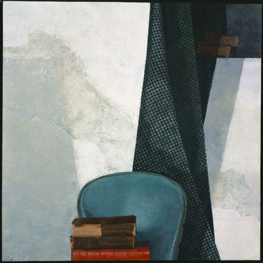 francois beaudry egg tempera painting still life chair books curtain chercheur de tresors series