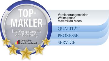 Bild Siegel Top-Makler des Deutschen Maklerverbandes Maximilian Moos, Versicherungsmakler Neustadt an der Weinstraße