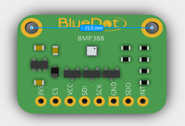 Measuring dimension from BMP388 board using Autodesk Viewer.