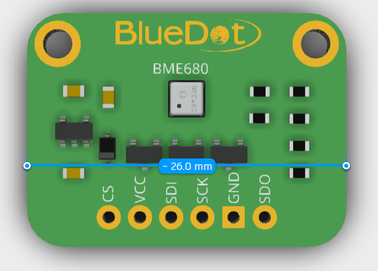 Measuring BME680 board using Autodesk Viewer.
