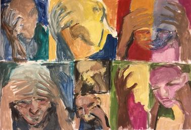 In Gedanken I, Acryl auf Papier, 2017